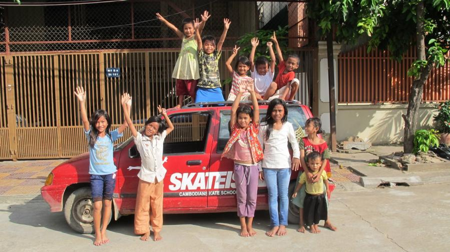 Early days Skateistan Cambodia (kids in front of car)
