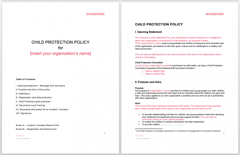 Child Protection Policy Template for Sports Organizations