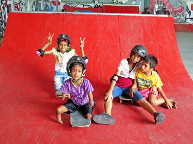Students at Skateistan Cambodia