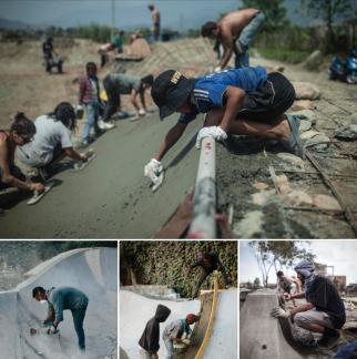 Photos of skatepark builds and troweling DIY skateparks
